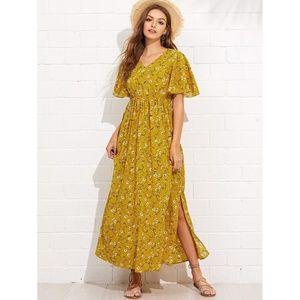 Dresses & Skirts - Flutter Sleeve Slit Side Daisy Print Dress